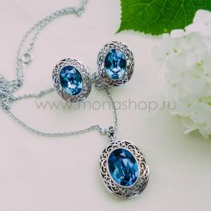 Комплект «Сара» с синими кристаллами Сваровски