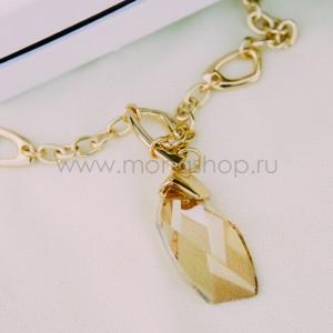 Кулон «На счастье» с кристаллом Сваровски цвета шампань