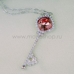 Кулон «Ключик к сердцу» с красным кристаллом Сваровски