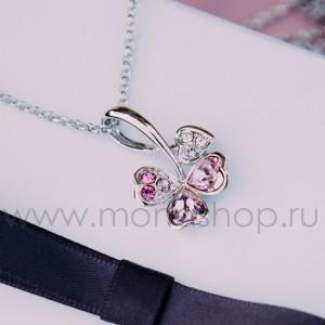 Кулон «Аленький цветочек» с розовыми кристаллами Сваровски