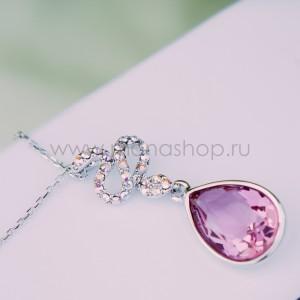 Кулон «Коварство» с розовым кристаллом Сваровски