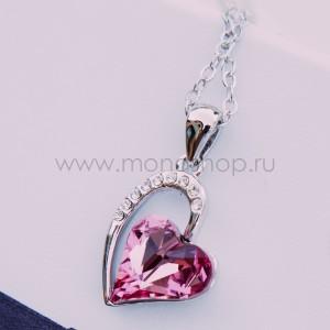 Кулон «Олимпия» с розовым кристаллом Сваровски