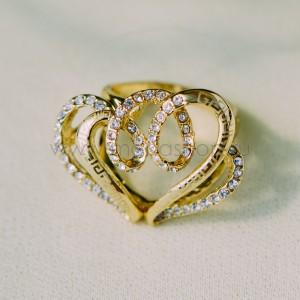 Кольцо «Влюбленное сердце» с циркониями