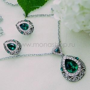 Комплект «Восточная сказка» с зелеными кристаллами Сваровски
