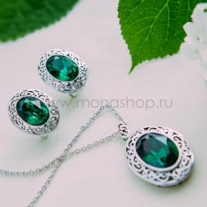 Комплект «Сара» с зелеными кристаллами Сваровски