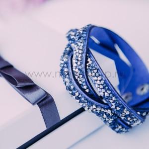 Браслет «Коса» замшевый синий