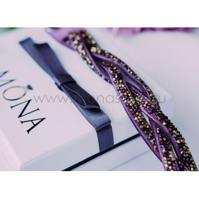 Браслет «Коса» замшевый фиолетовый