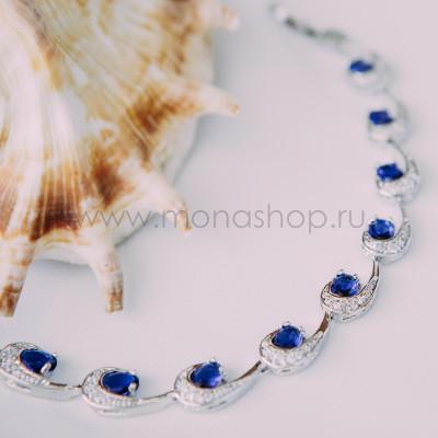 Браслет «Ундина» с синими циркониями
