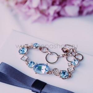 Браслет Юнона с голубыми кристаллами Сваровски