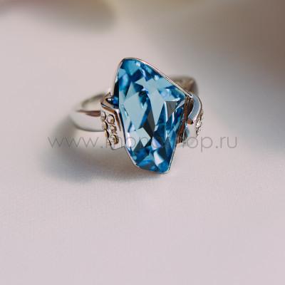Кольцо Айсберг с голубым кристаллом Сваровски