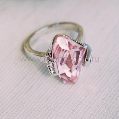 Кольцо «Айсберг» с розовым кристаллом Сваровски