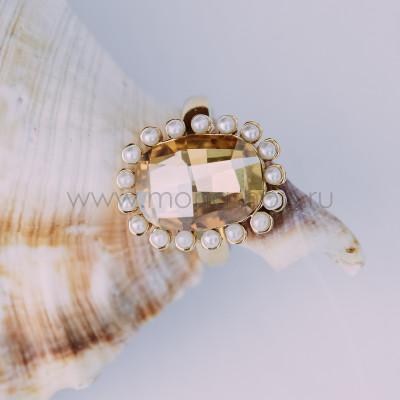 Кольцо «Брызги шампанского» с кристаллом Сваровски