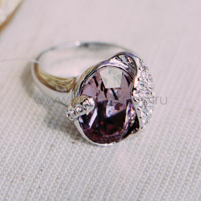 Кольцо «Бутон» с кристаллом Сваровски цвета бордо