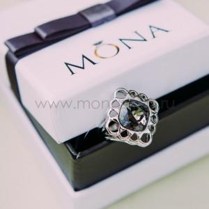 Кольцо «Черный тюльпан» с кристаллами Сваровски