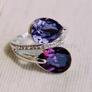 Кольцо «Дуэт» с фиолетовыми кристаллами Сваровски