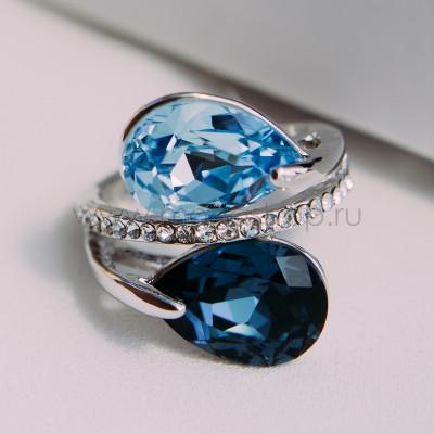 Кольцо «Дуэт» с синими кристаллами Сваровски