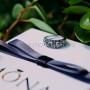 Кольцо «Греческие мотивы» с черными кристаллами, покрытие - родий