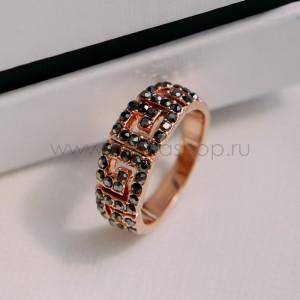 Кольцо «Греческие мотивы» с черными кристаллами, покрытие - золото