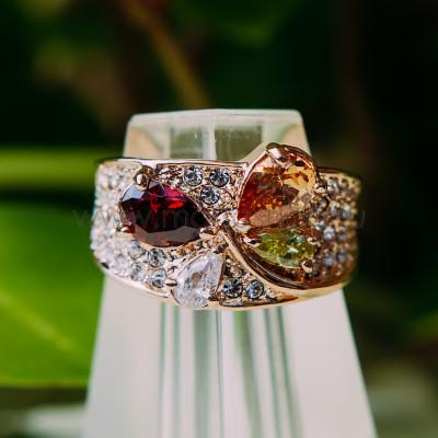 Кольцо Лолита с разноцветными циркониями