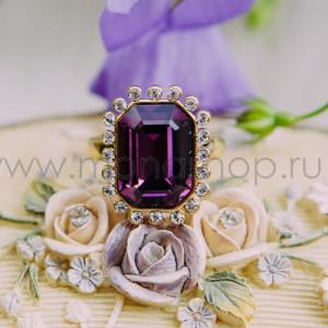 Кольцо «Магия камня» с фиолетовым кристаллом Сваровски