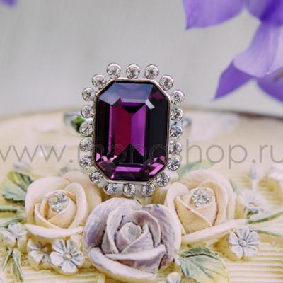 Кольцо «Магия камня» с фиолетовым кристаллом Сваровски, покрытие-родий
