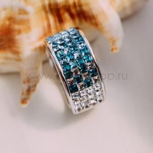 Кольцо «Рассвет» с голубыми кристаллами Swarovski