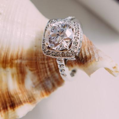 Кольцо «Вечность» с белым цирконием в филигранной оправе