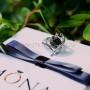 Кольцо «Змея» с черным кристаллом Сваровски