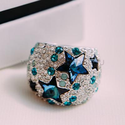 Кольцо Звездное небо с кристаллами Сваровски