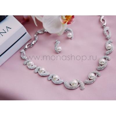 Комплект «Очарование» жемчужный c кристаллами Сваровски