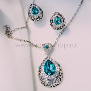 Комплект «Восточная сказка» с бирюзовыми кристаллами Сваровски