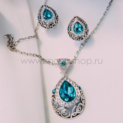 Комплект Восточная сказка с бирюзовыми кристаллами Сваровски