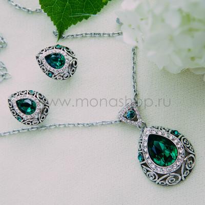 Комплект Восточная сказка с зелеными кристаллами Сваровски