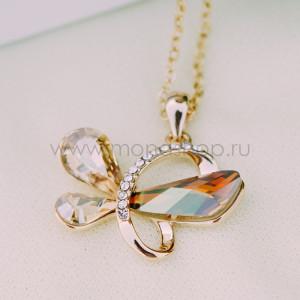 Кулон Афродита с кристаллами Сваровски цвета шампань