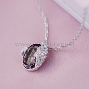 Кулон «Бутон» с кристаллом Сваровски цвета бордо