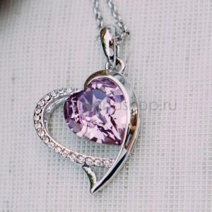 Кулон «Хрустальное сердце» с фиолетовым кристаллом Сваровски