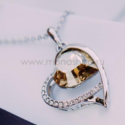 Кулон «Хрустальное сердце» с кристаллом Сваровски цвета шампань