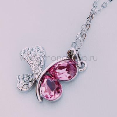 Кулон Кассандра с розовыми кристаллами Сваровски