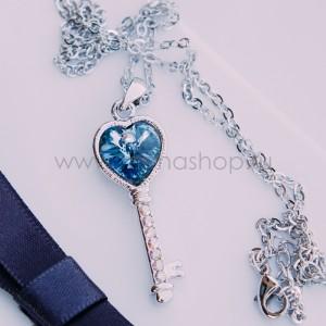 Кулон Ключ с голубым кристаллом Сваровски