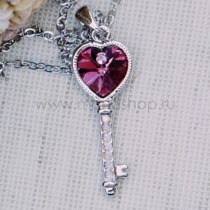 Кулон Ключ с розовым кристаллом Сваровски
