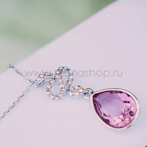 Кулон Коварство с розовым кристаллом Сваровски