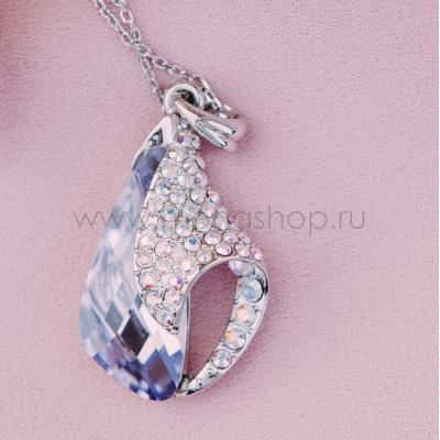 Кулон Объятия с фиолетовым кристаллом Сваровски