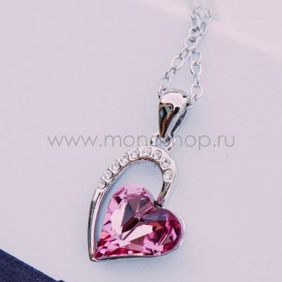 Кулон Олимпия с розовым кристаллом Сваровски