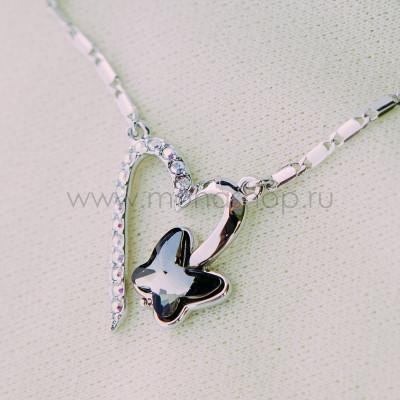 Кулон «Сердце бабочки» с черным кристаллом Сваровски