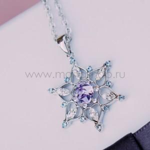 Кулон «Снежинка» с фиолетовыми кристаллами Сваровски
