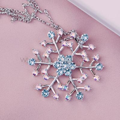 Кулон Снежный с голубыми кристаллами Сваровски