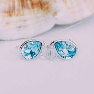 Серьги «Бабочки» с голубыми кристаллами Сваровски