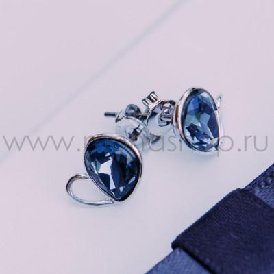 Серьги «Бабочки» с синими кристаллами Сваровски