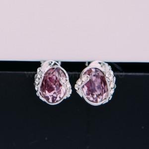 Серьги «Бутон» с кристаллами Сваровски цвета бордо