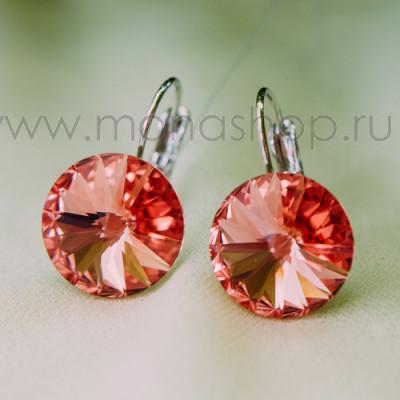 Серьги «Чародейка» с оранжевыми кристаллами Сваровски, покрытие - родий
